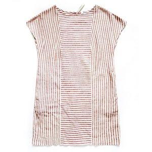 Stripes Button Back Tee Linen Blend + Pockets XS